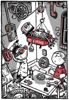 From: FRANK EINSTEIN AND THE ANITMATTER MOTOR by Jon Scieszka, illustrated by Brian Biggs.