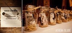 Rustic fall barn wedding details:  letterpress invites, pumpkin placecards