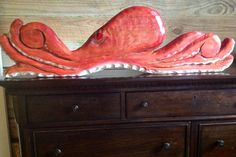 """Octopus 39""""chainsaw wood carving whimsical nautical home accent original saltwater wall mount rustic beach bungalow decor collectible art by oceanarts10 on Etsy"""