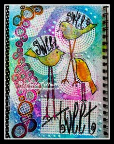 """WelcometoDay THREE of the StencilGirl ProductsandCraft Hoarders AnonymousBlog Hop - It is looking like Linda Kittmer took the challenge of """"Spray It"""" very seriously on this FUN Art Journal..."""