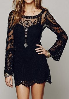 Black Plain Embroidery Long Sleeve #Lace #Dress #MiniDresses - #Dresses #fashion #style #mode #robe #black #petiterobenoire