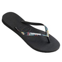 6d0cf94ef4cf6f Havaianas Slim Stripped Logo (Floral) Black Thongs. A new season spin on a
