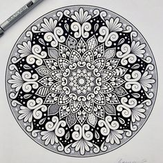 Mandala by Like it! Easy Mandala Drawing, Mandala Sketch, Simple Mandala, Mandala Dots, Mandala Pattern, Doodle Patterns, Zentangle Patterns, Zentangles, Mandala Stencils