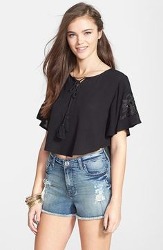 $44, STS Blue High Waist Distressed Denim Shorts. Sold by Nordstrom. Click for more info: https://lookastic.com/women/shop_items/56654/redirect