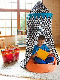 Reading Nook Canopy: Create an irresistible retreat with our no-sew canopy made from a bed sheet and a quilting hoop.
