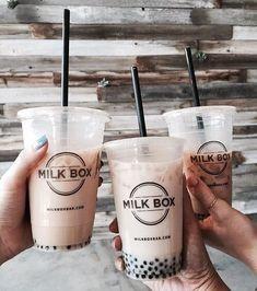bubble tea from milk box // janicepham ✧ I Love Food, Good Food, Yummy Food, Junk Food, Food Porn, Milk Shakes, But First Coffee, Bubble Tea, Milk Tea
