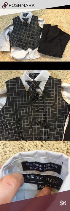12M Boys Dress Outfit White button up top, vest, clip on tie & black dress pants Matching Sets