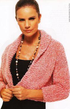 Tricot como Terapia e  Prazer: Bolero Piuma rosa