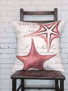 Pillow Cover Coral Starfish Beach Decor Cotton and by JolieMarche