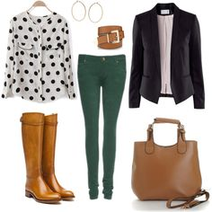 Polka Dots, emerald pants and brown leather