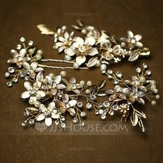 Hairpins Combs & Barrettes Wedding Special Occasion Casual Party Art photography Rhinestone Imitation Pearls Elegant Color & Style representation may vary by monitor (Set of 4) Headpieces