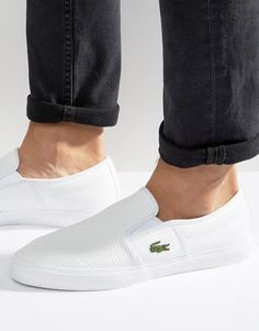 online store a44d8 34a40 Lacoste Gazon Leather Slip On Sneakers Zapatillas, Cuero Auténtico,  Zapatillas De Deporte Masculinas,