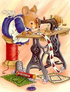 Busy sewing.