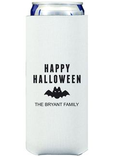 Happy Halloween Bat Collapsible Slim Koozies