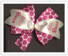 "Hair Bow - Hot Pink 5"" Pin On"