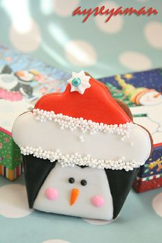 """christmas penguin cookie """"christmas cupcake cookies"""" by ayse's cakes in new jersey, new york, via Flickr"""