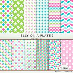 From the Jelly On A Plate Collection, with pretty shades of blue, green and pink Jelly on A Plate 3 is for fun layouts and digital crafts. Use as backgrounds or perhaps crop and use it as a frame behind a picture.