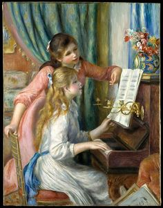 Top 10 Most Famous Paintings by Pierre Auguste Renoir. Pierre Auguste Renoir French painter initially connected with the Impressionist movement. He was one of the focal figures of the impressionist movement. Pierre Auguste Renoir, Edouard Manet, Claude Monet, The Piano, Piano Art, August Renoir, Renoir Paintings, Oil Paintings, Art Gallery