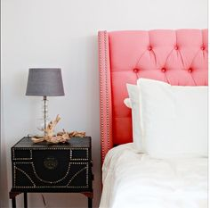 Don't be afraid to go for a bold headboard and studded nightstand, like the lovely @dallasshaw did here. And if pink's not your thing, there are plenty of other colors that'll suit any style.