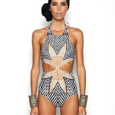 Trendy Sexy High Halter Bandage Leaf Print One Piece Bathing Suit S-L