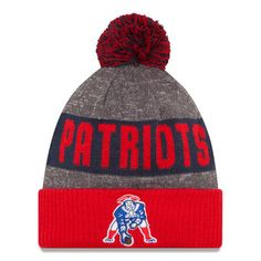 New England Patriots New Era 2016 Sideline Official Classic Pom Knit Hat…