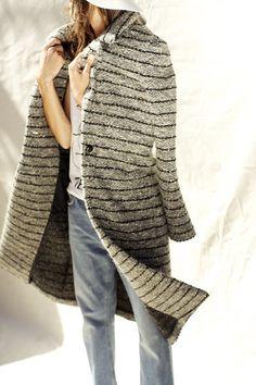 ISIAH COAT Etoile Isabel Marant | Long alpaca/wool blend tweed coat. Single leather button closure and front handwarmer pockets.