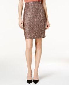 Nine West Tweed Pencil Skirt - Brown 14