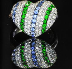 18K White Gold Micro Pave Ring, Sapphire, Tsavorite Garnet and Diamond HD VIDEO #Handmade #Cluster #diamondsapphireemeraldring #diamondring #sapphirering #emeraldring #bellmansonlinestore #bellmansjewelers