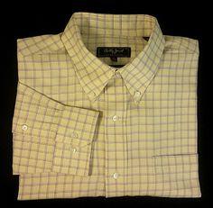 New- Bobby Jones-Yellow Check Woven Italian Cotton BD Shirt- size XL