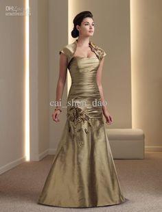 Wholesale elegant gold taffeta jacket bolero Floor handmade flower length Mother of bride Dresses Q77, Free shipping, $147.15-170.2/Piece | DHgate