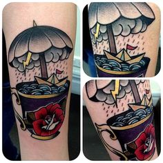 Storm in a teacup tattoo by Nat G.