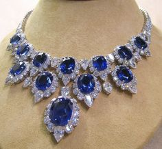 I melt for sapphires. Can someone buy this for me? Thank you #sapphire #diamonds. #necklace