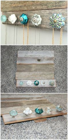 DIY Jewelry holder – perfect for holding and organizing your jewelry and necklaces. Cute antique knobs (from Pier 1 Imports) and barn wood (Hobby Lobby).