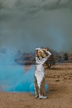 Metallic Arizona Desert Bridal Styled Photoshoot / sequin wedding dress , cactus , smoke bomb photography