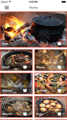 Great Potjiekos Recipes on the App Store,, - Grow tomatoes - - Oxtail Recipes - African Food Dutch Oven Cooking, Dutch Oven Recipes, Cast Iron Cooking, Braai Recipes, Oxtail Recipes, Cooking Recipes, South African Dishes, South African Recipes, Camping Meals