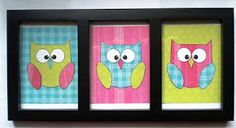 cricut owl in bright colors and put in a picture frame