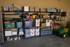 Love the way everything is up against the wall with left over space to walk... great way to organize your garage