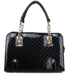 Fashion Super Star Diamond Lattice Pearl Chain Patent cowhide Leather Bag  famous brand designer women shoulder a7fe63ef70431