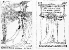 Jessie Marion King, double title pages for William Morris's The Defence of Guenevere, 1904. Vigorous energy and fragile delicacy, seemingly contradictory qualities, characterize King's work.