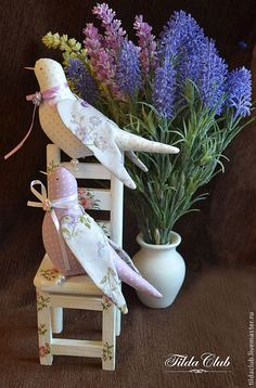Куклы Тильды ручной работы. Ярмарка Мастеров - ручная работа. Купить Птички Тильда: Лаванда. Handmade. Сиреневый, тильда кукла