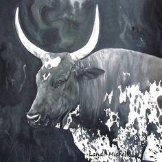 Nguni Cow, oil on canvas. #LandiMichelleArts