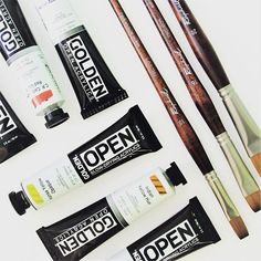 #goldenopen #golden #acrylics #acrylicpaint #heavybody #raphael #pencils #brushes #paint #artist #painting #open #goldenacrylics