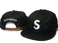 "Mens Supreme 6-Panel Jumbo Logo ""S"" Embroidery Top Quality USA Fashion Selling Cotton Strapback Cap - Black"