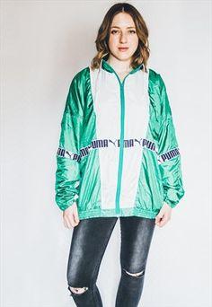 80s+90s+Green+Puma+Windbreaker+Shell+Jacket