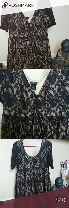54e6281e911 New w tag Torrid Black lace lined ss vee neck top Perfection meets black  lace meets empire Style sexy comfortable brand new with tags Torrid must  have ...