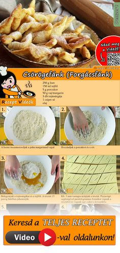 Csörögefánk (Forgácsfánk) My Recipes, Cake Recipes, Cooking Recipes, Coconut Chocolate Chip Cookies, Hungarian Recipes, Breakfast Time, No Bake Cake, Clean Eating, Good Food