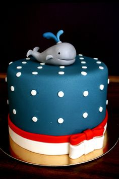 whale cake for nautical theme 1st birthday party....