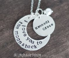 I Love You To The Moon And Back Hand Stamped by allmyheartshop