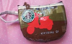 Cutest coin purse ever ... holds enough change (which you found in your sofa!) for a quick trip to Starbucks!  Recycle those coffee bags ladies or just give them to me!
