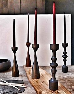 handturned candlesticks....scandi inspired...made of stained oak and walnut...